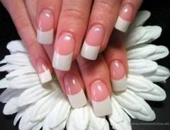 White Acrylic At The Nail Tips And Pink Acrylics Beds To Create A